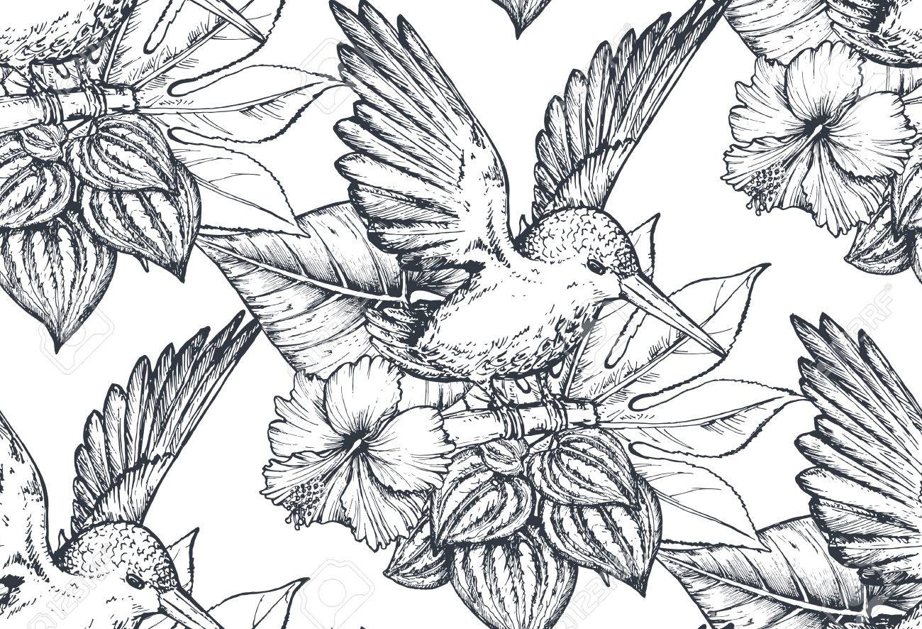 Vector seamless pattern with compositions of hand drawn tropical flowers, palm leaves, jungle plants, paradise bouquet with exotic birds. Beautiful black and white floral endless background Stock Vector - 81964744