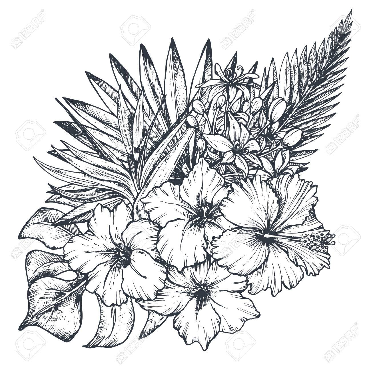 A Vector Composition Of Hand Drawn Black And White Tropical Flowers
