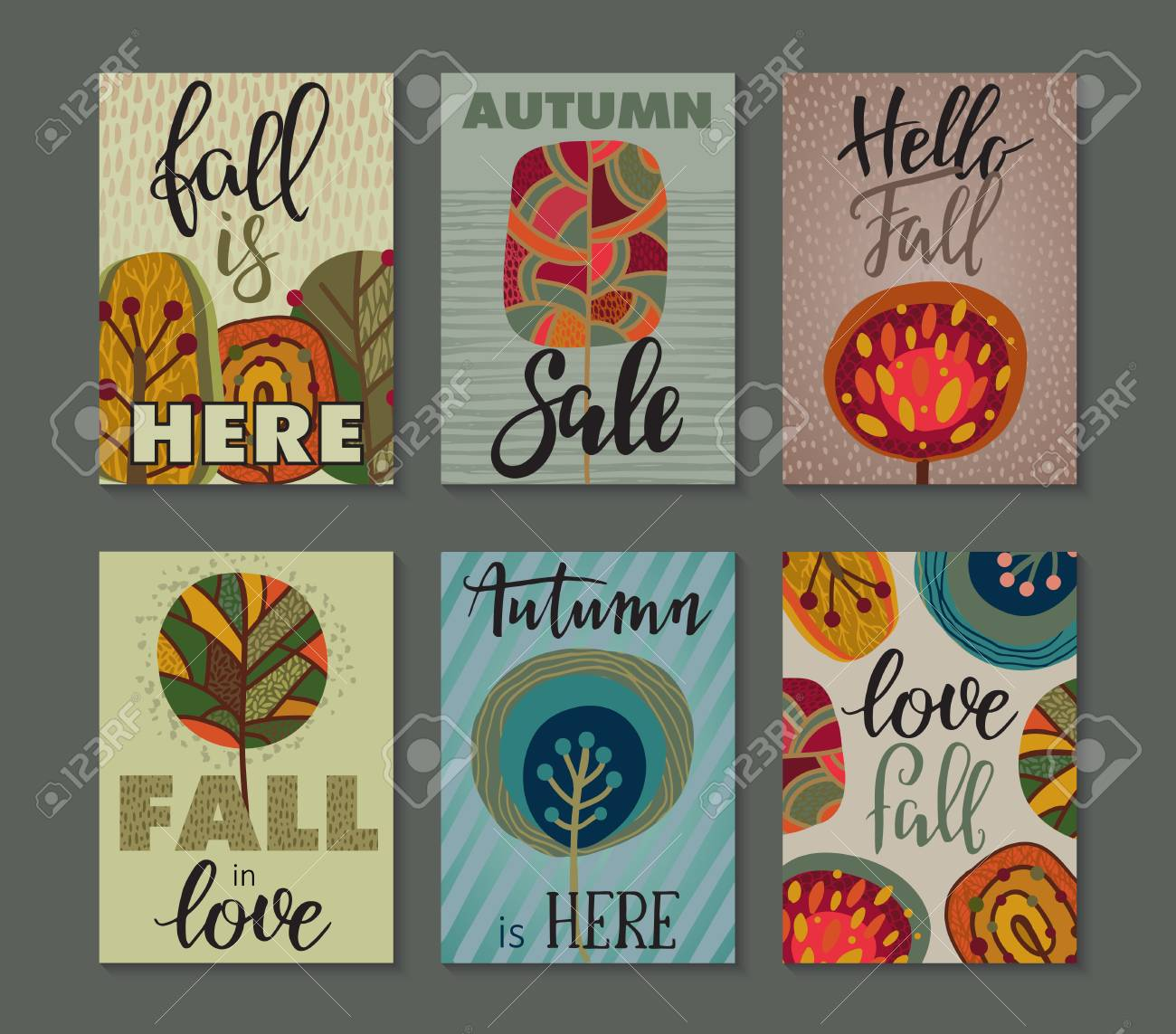 Vector Collection Of Autumn Cards Fall Flyer Templates With
