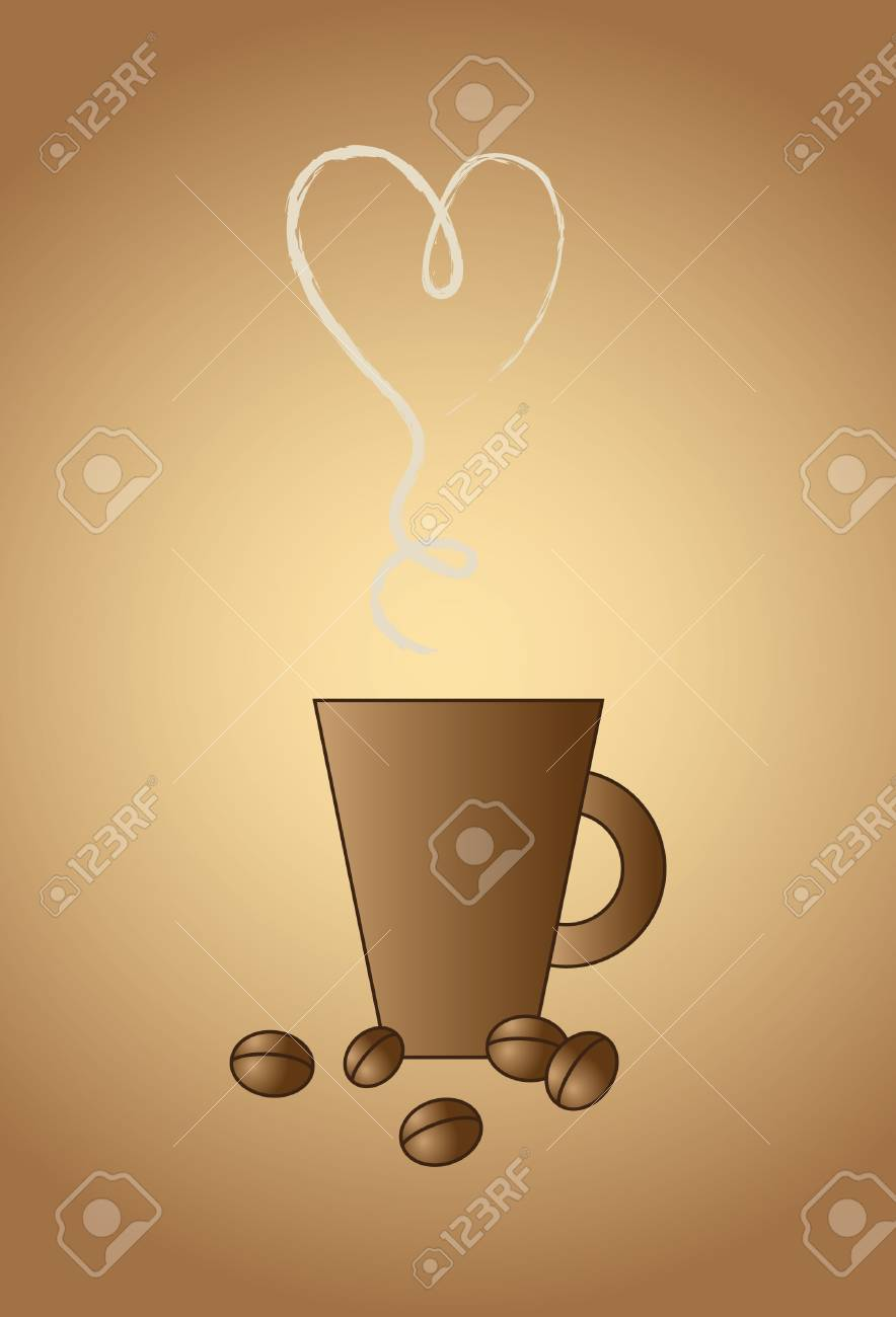 Vector cup with coffee beans Stock Vector - 6465590