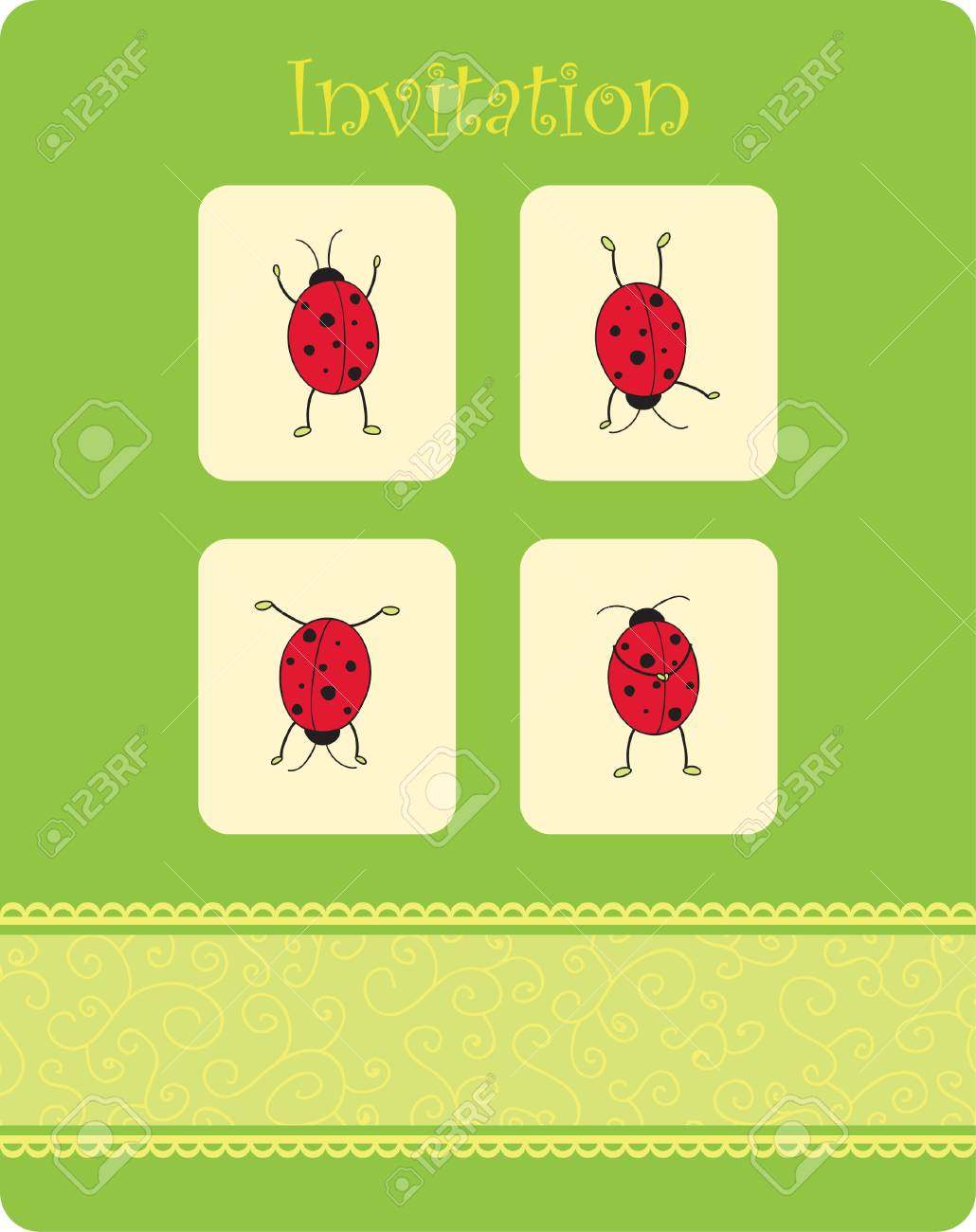 card with four ladybugs Stock Vector - 7258065
