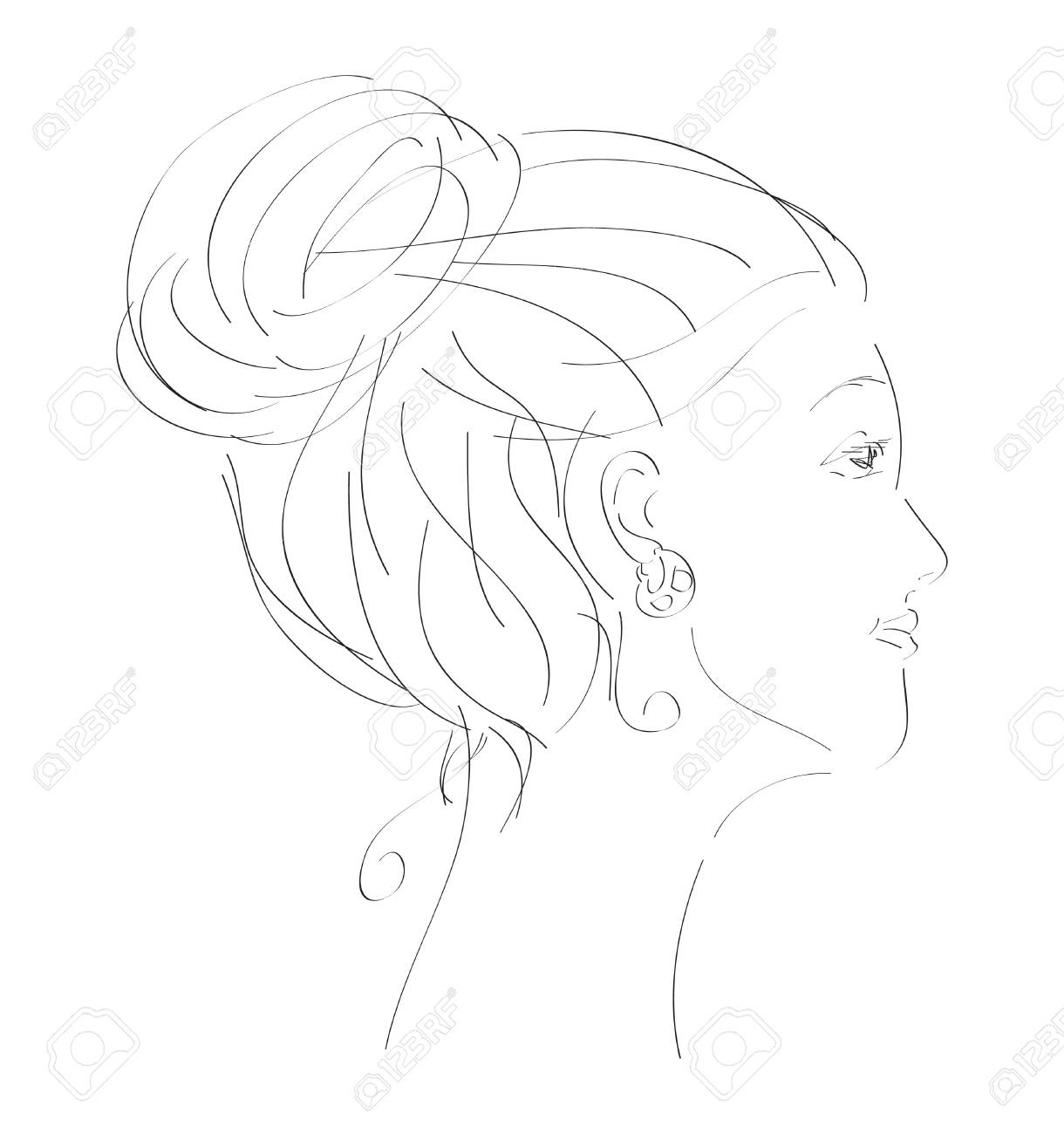 Vintage, hand drawn illustration of woman Stock Vector - 7958125