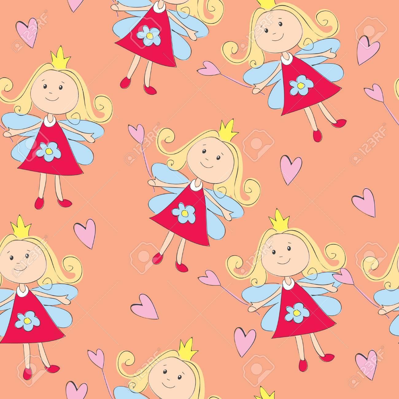 Vector seamless illustration of fairy princess Stock Vector - 8546078