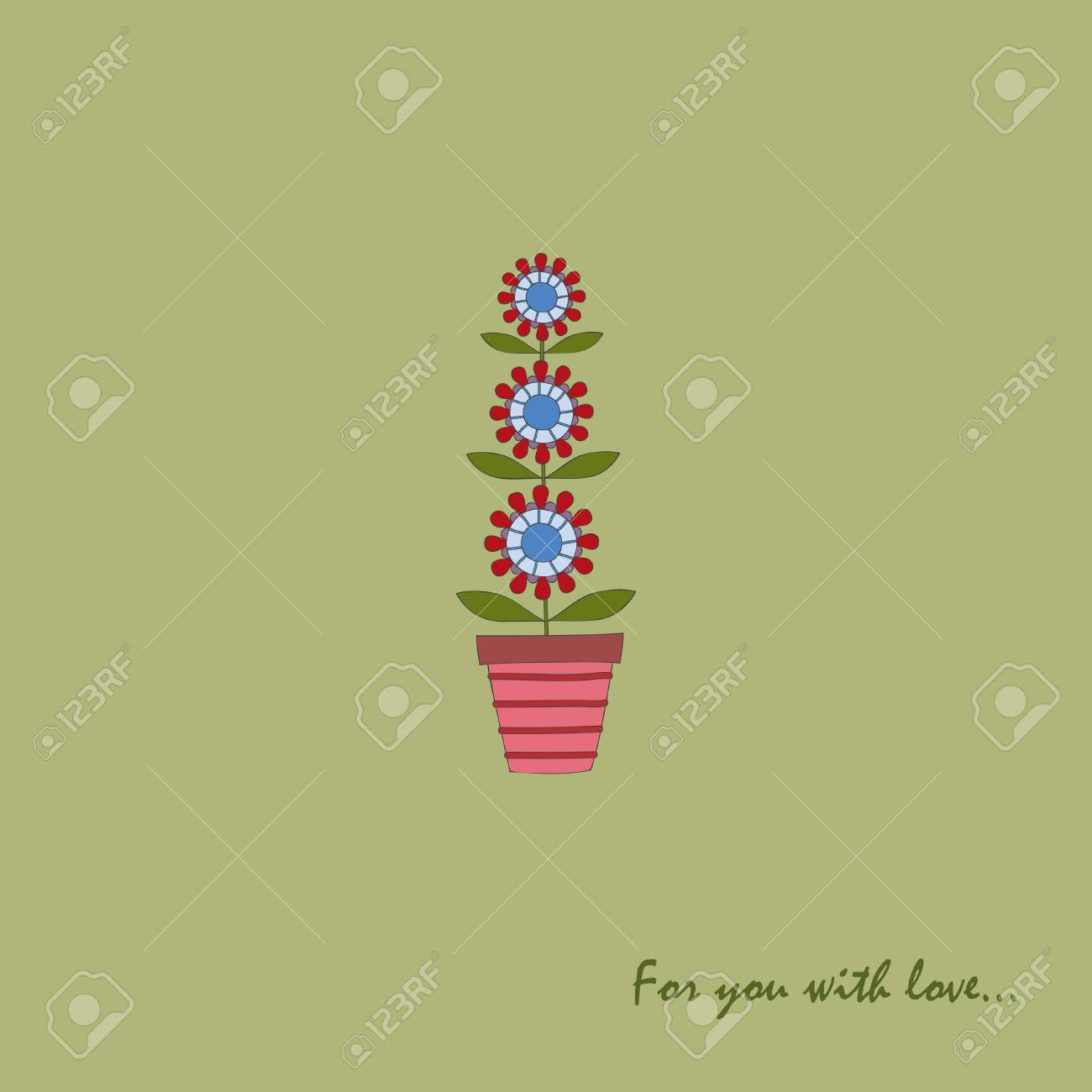 Vector card with flower in a flower pot Stock Vector - 8778305