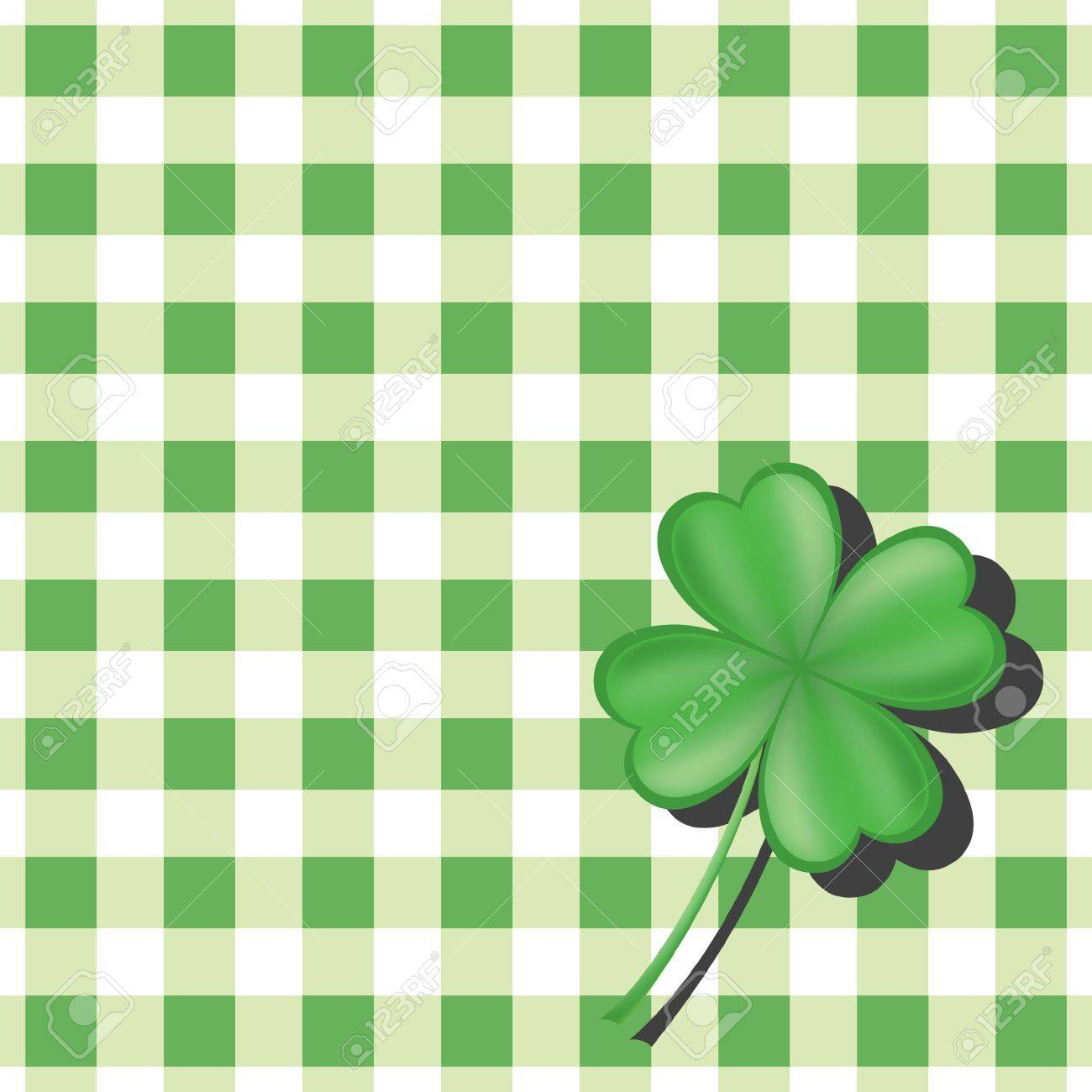 Clover on green checkered background Stock Vector - 9148183