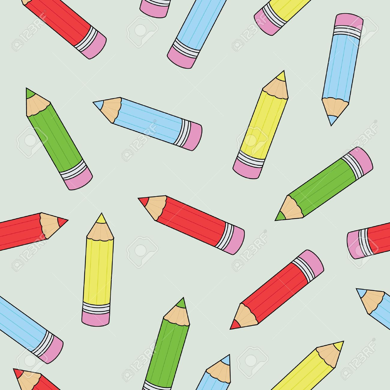 Seamless wallpaper pattern with crayons Stock Vector - 9410507
