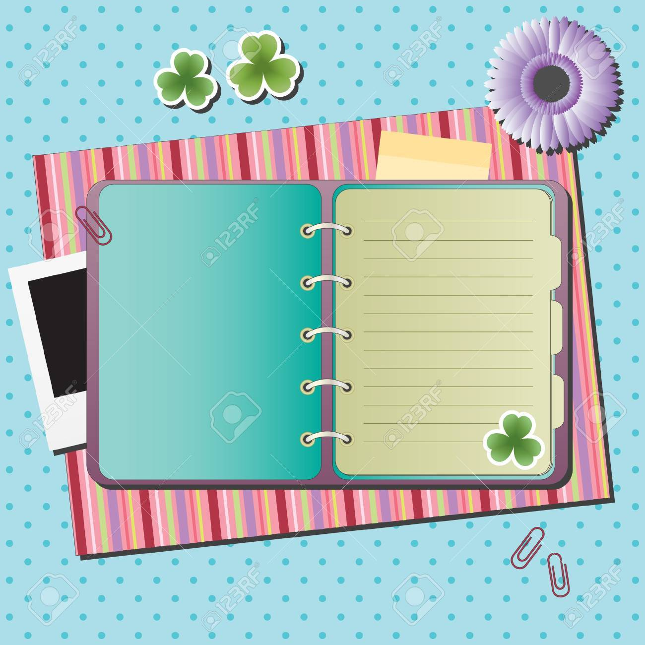 Blank notebook on background with different elements Stock Vector - 9580386