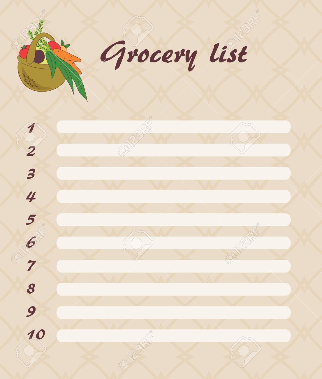 blank grocery list