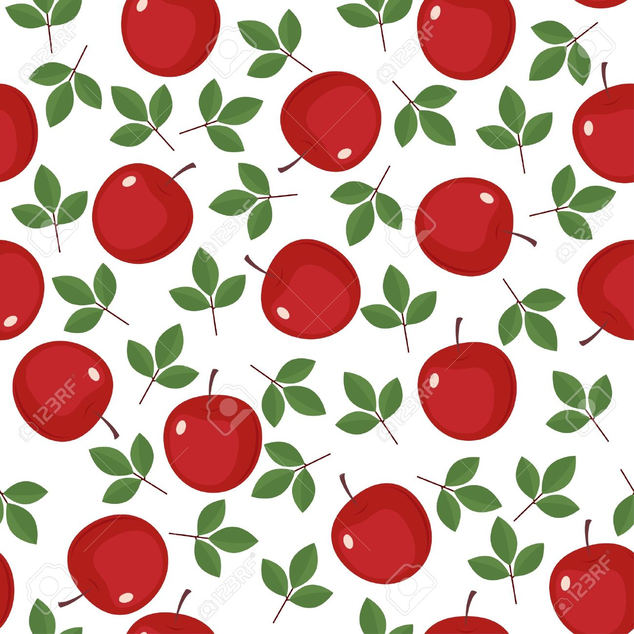 seamless wallpaper with red apples and green leaves royalty free
