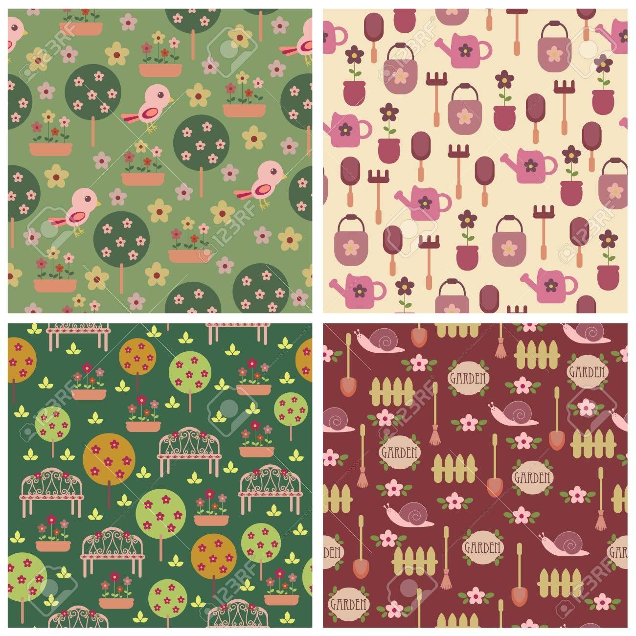 Seamless garden wallpapers Stock Vector - 11250498