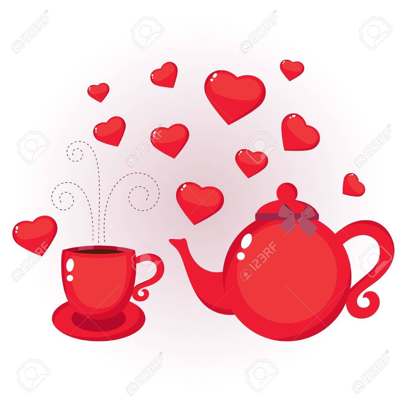 Red Teapot And Cup With Hearts Royalty Free Cliparts Vectors And Stock Illustration Image 11986022