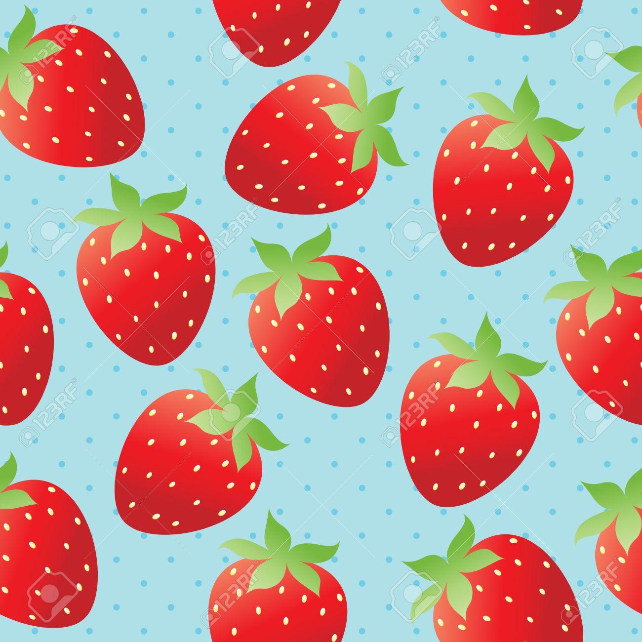 Bright Strawberry Wallpaper Stock Vector
