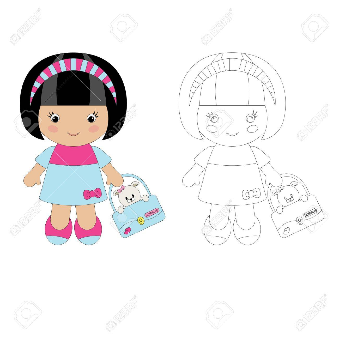 Coloring for children. Cute girl with her pet Stock Vector - 12065413