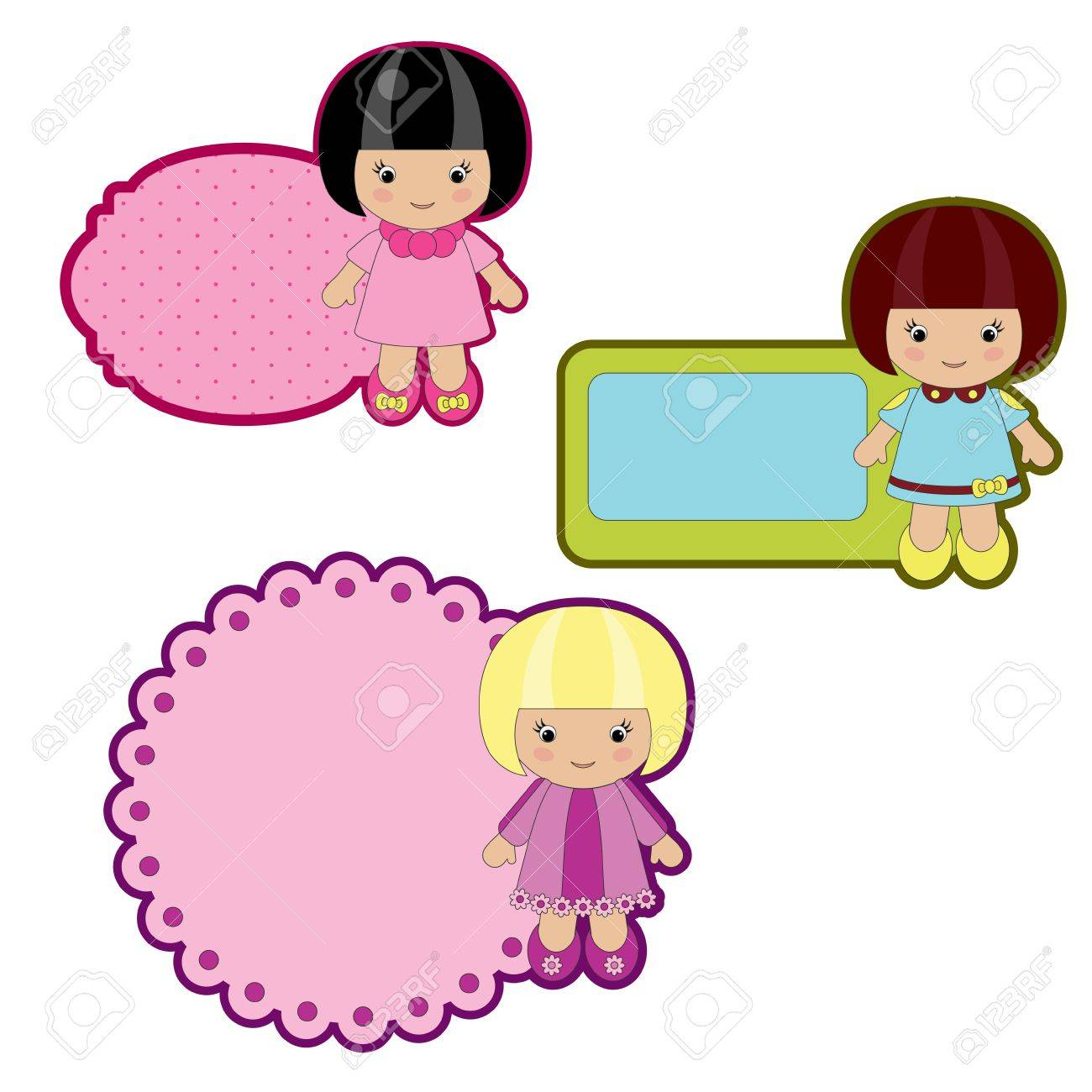 Colorful stickers with little girls Stock Vector - 12065419