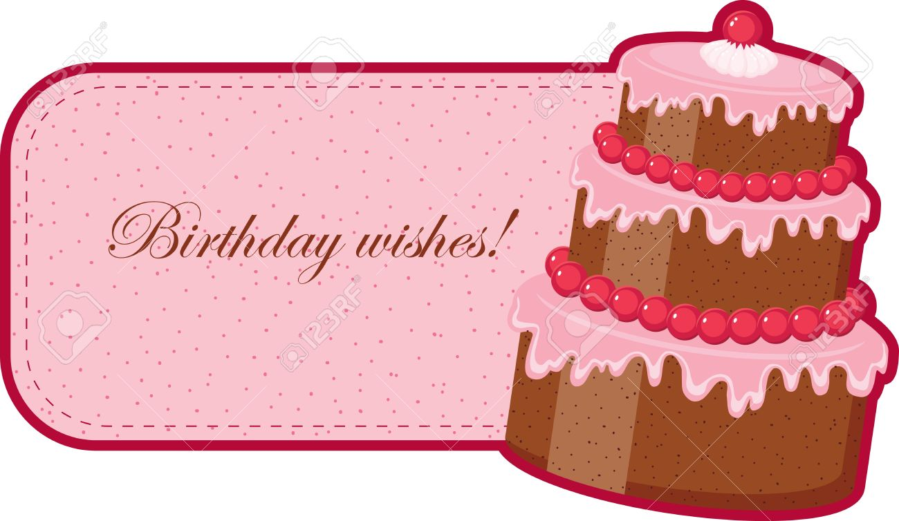Birthday Wishes With Chocolate Cake Stock Vector