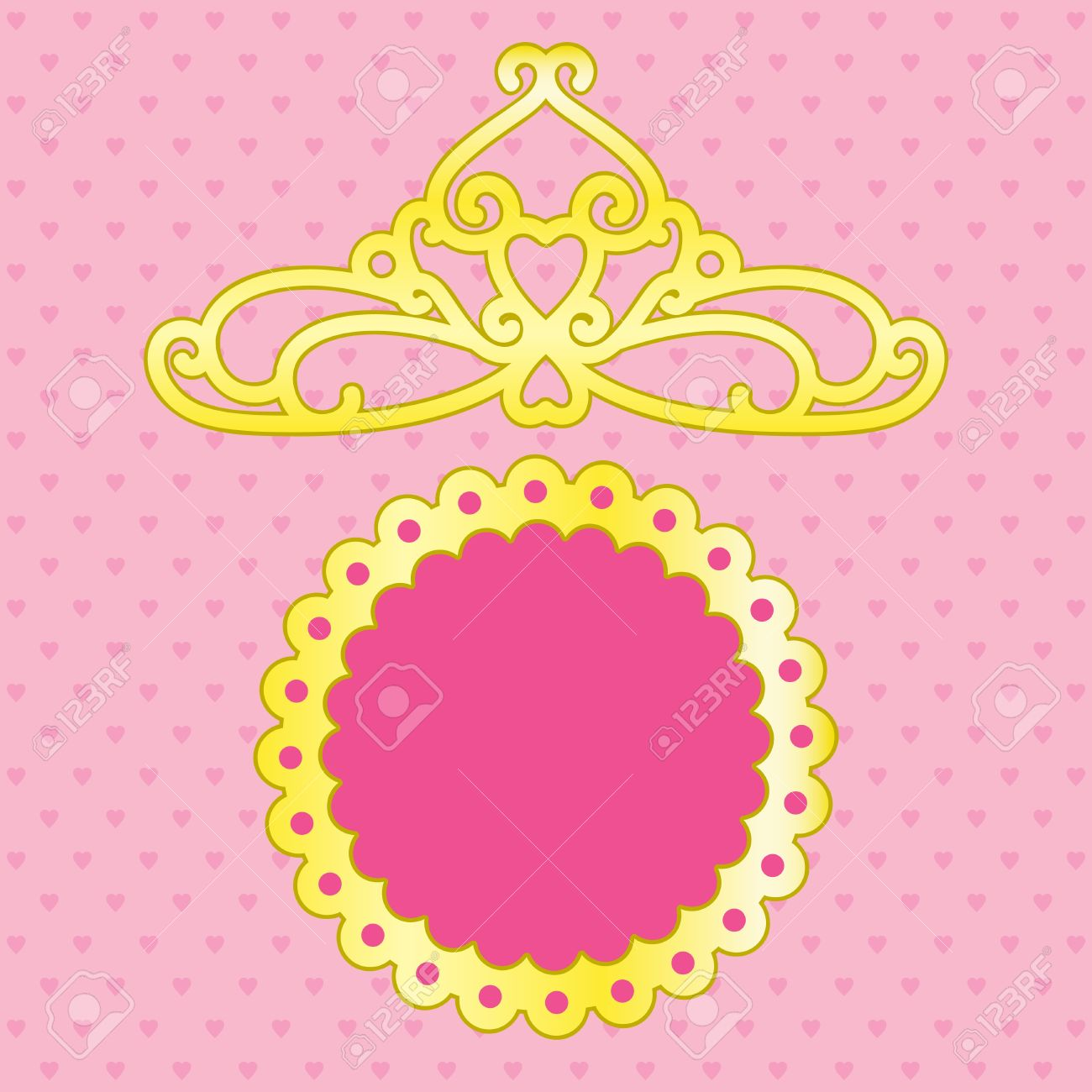 Pink Background With Space For Text And Crown Royalty Free Cliparts