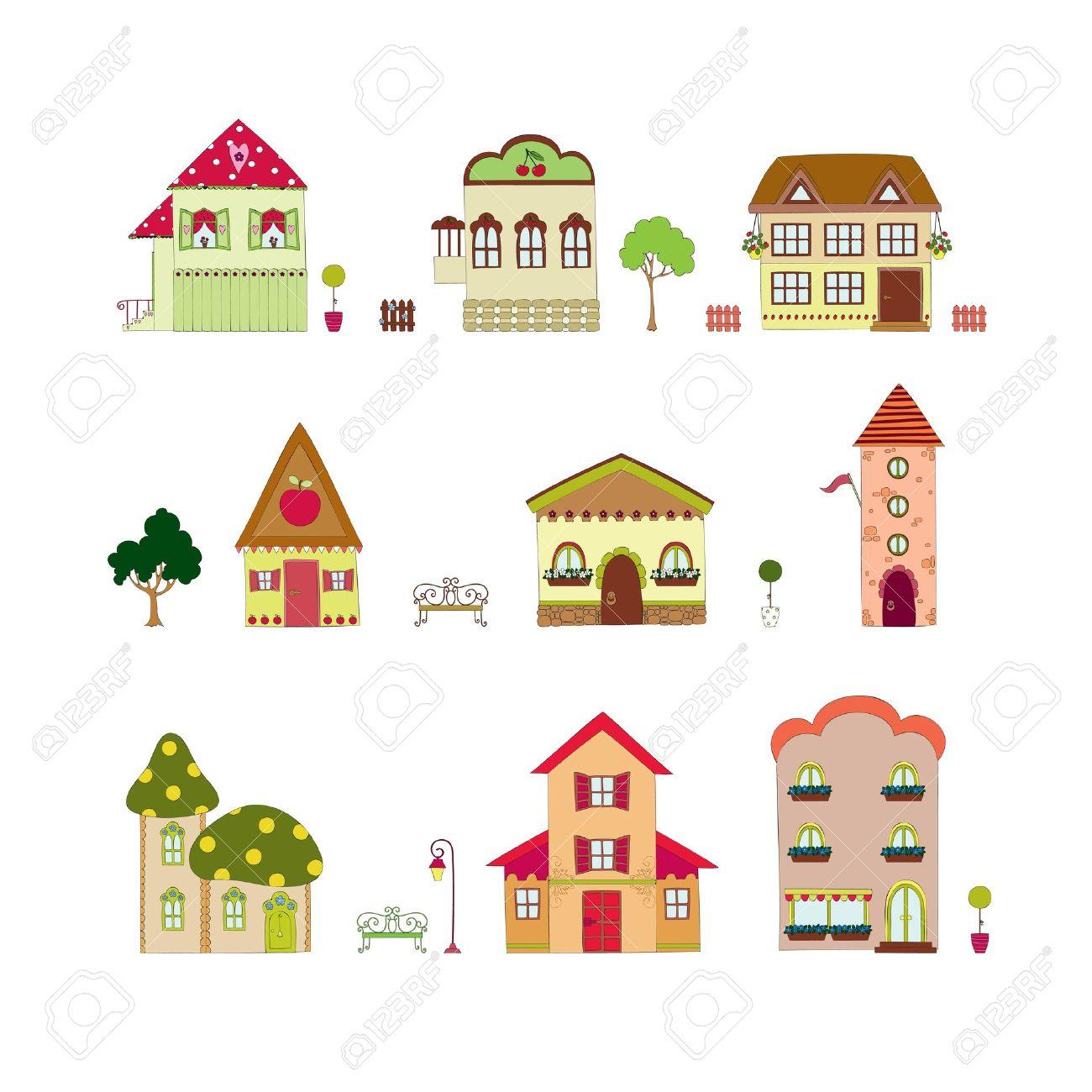 Cartoon isolated houses Stock Vector - 12810219