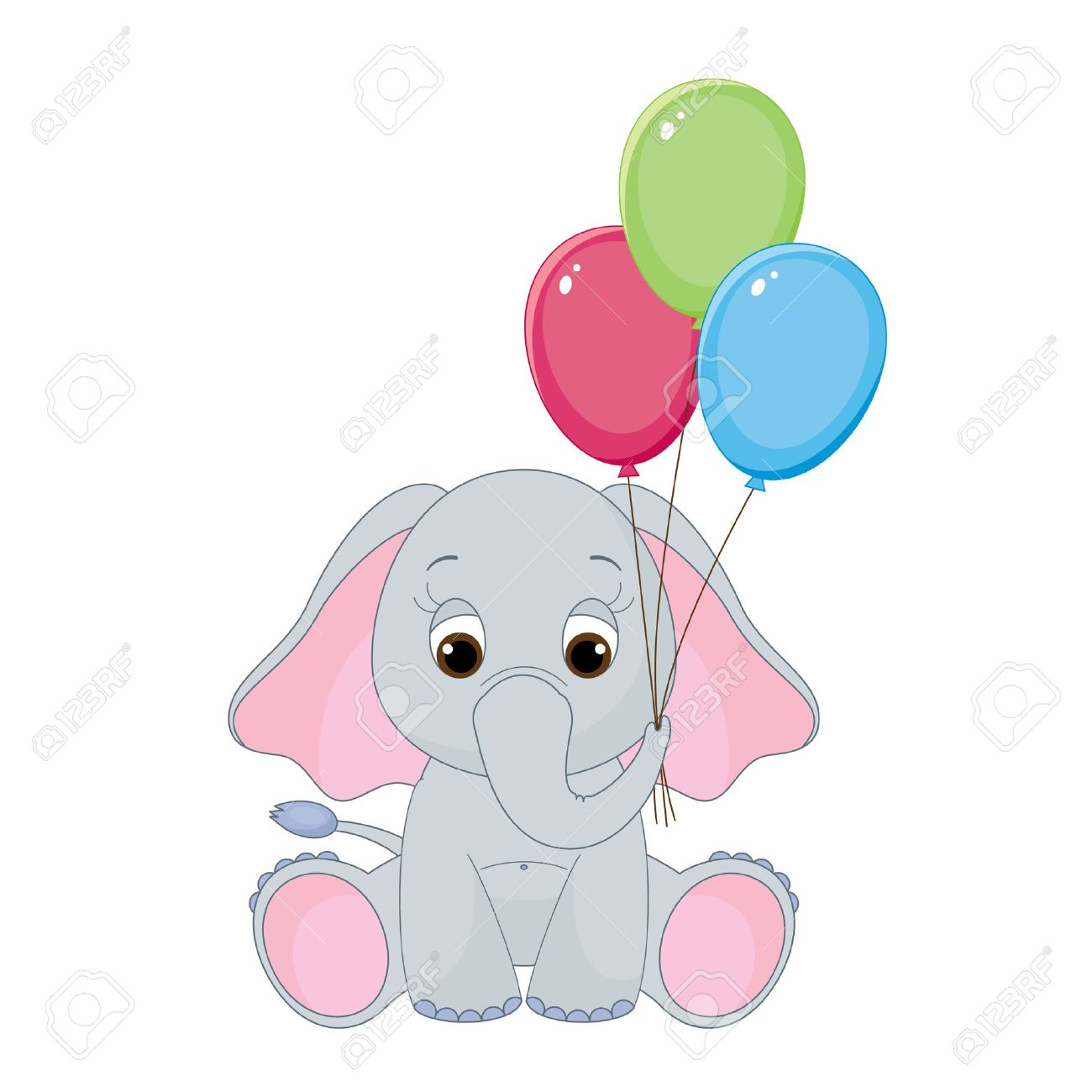 cute baby elephant with colorful balloons isolated on white royalty