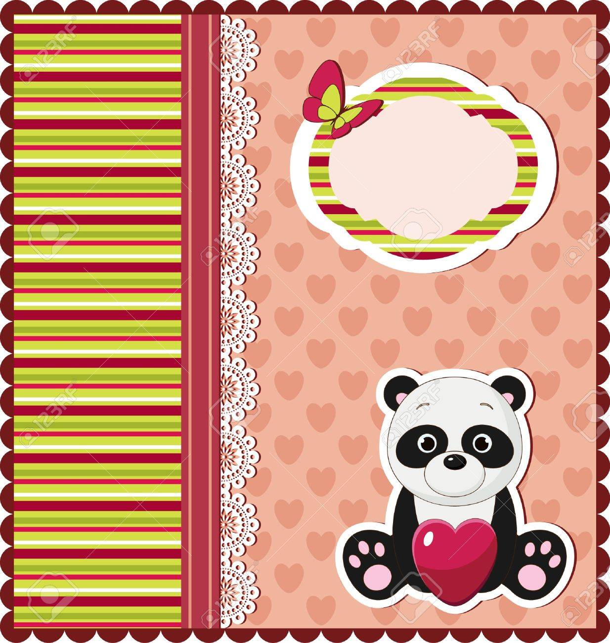 Nice bright card with panda Stock Vector - 14353708