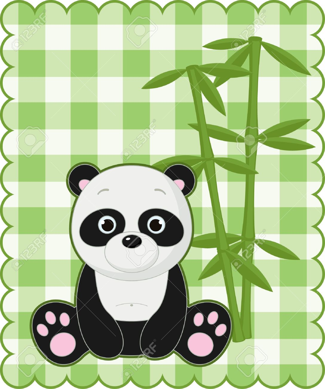 Nice green card with cute panda Stock Vector - 14353698