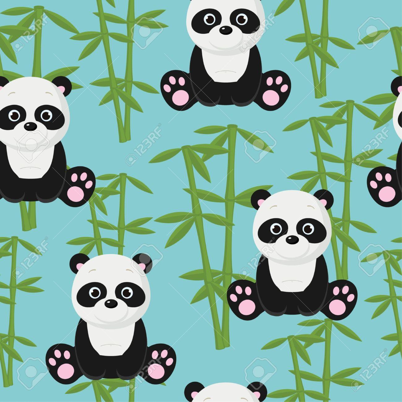 Seamless baby panda wallpaper Stock Vector - 14353699