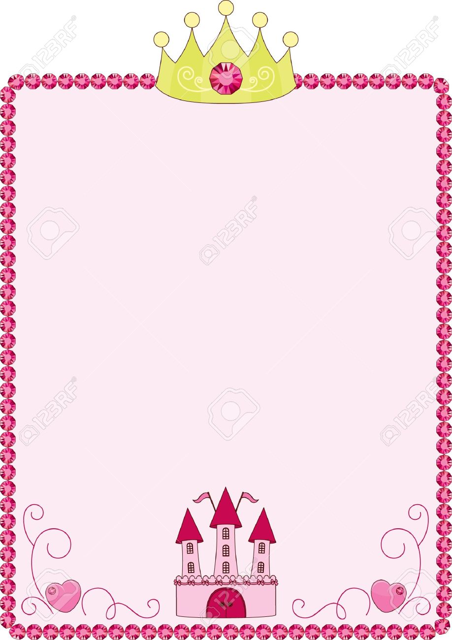 princess pink frame with crown and castle stock vector 14353709