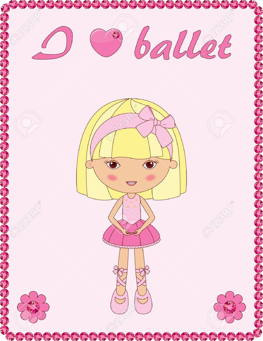 pink frame with cute little ballerina royalty free cliparts