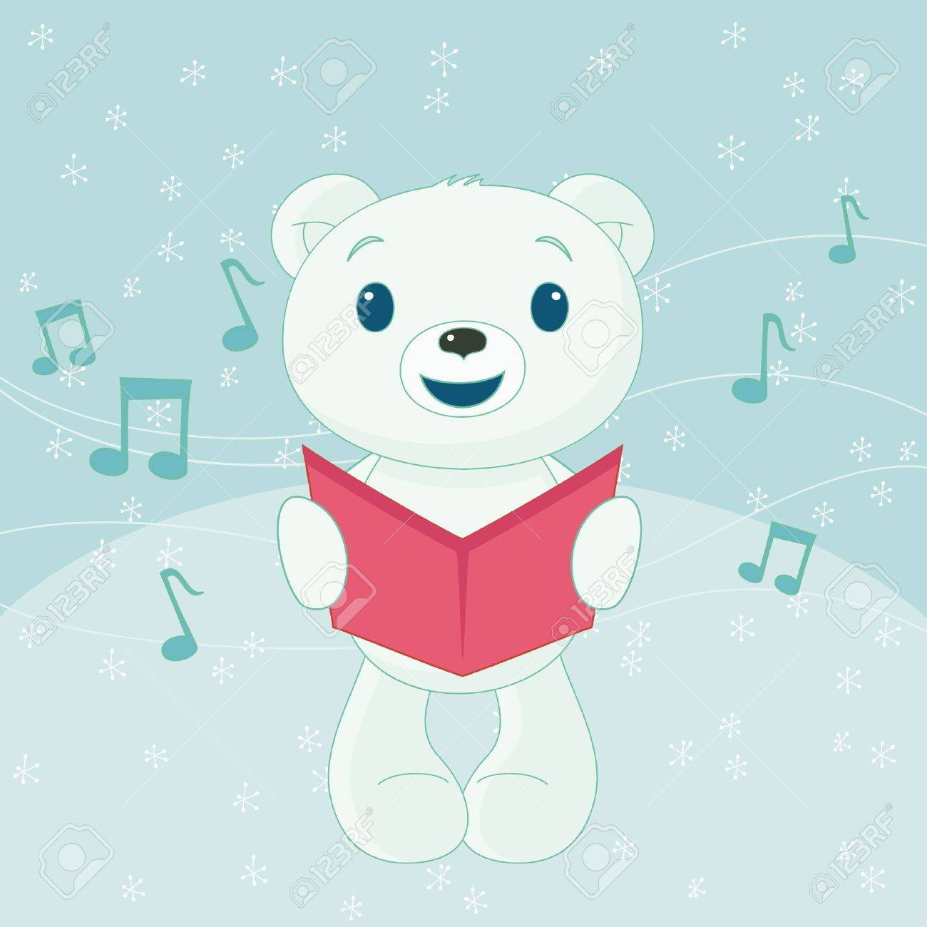 Christmas caroler polar bear Stock Vector - 16136370