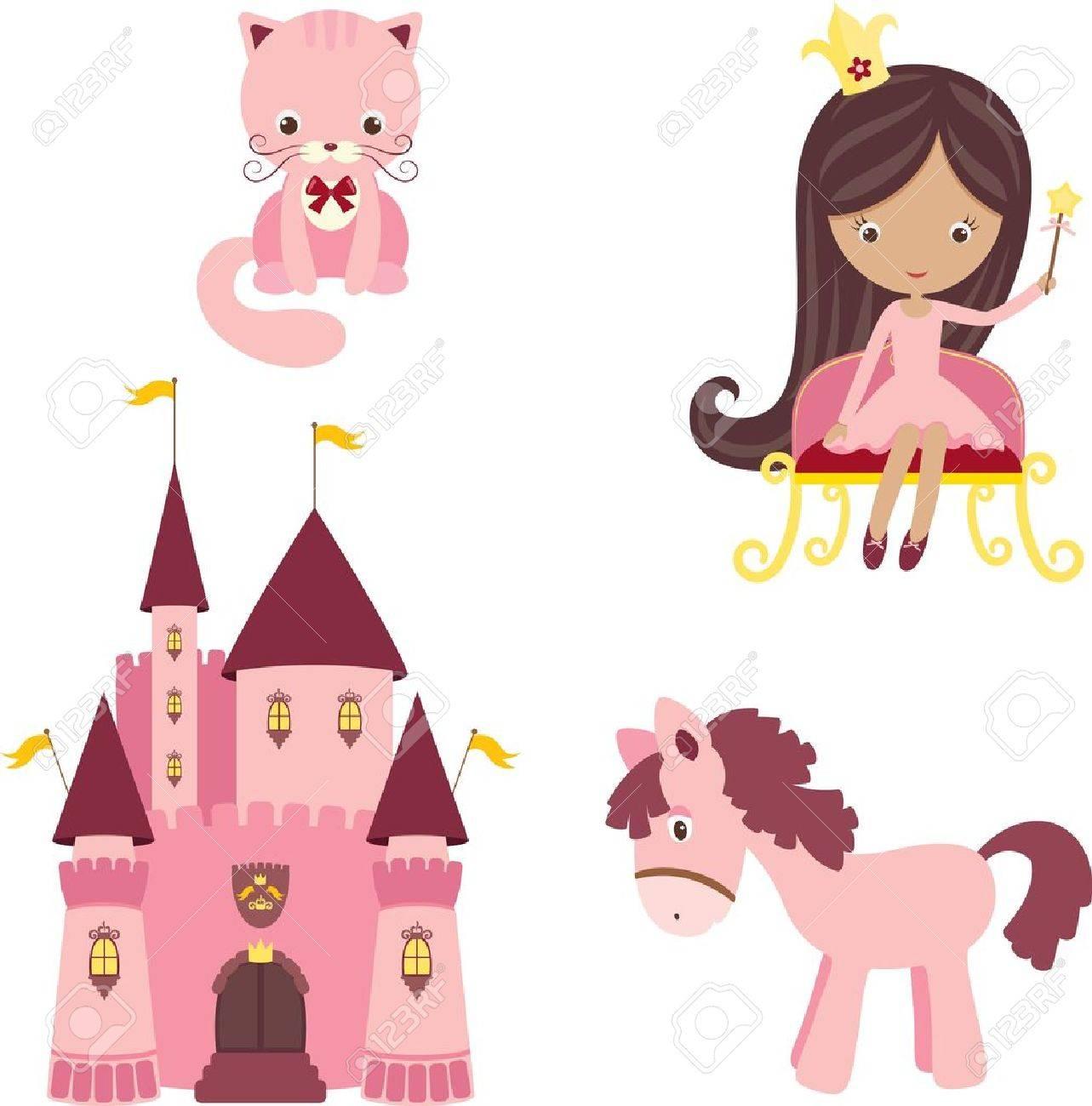 Vector illustration of pink princess design elements Stock Vector - 16136408