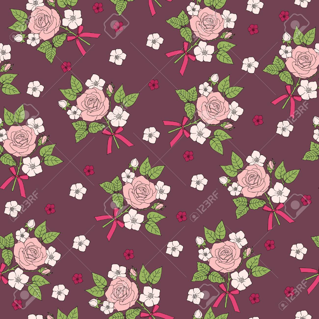 シームレスなレトロな花柄のデザインの壁紙のパターンのイラスト素材 ベクタ Image