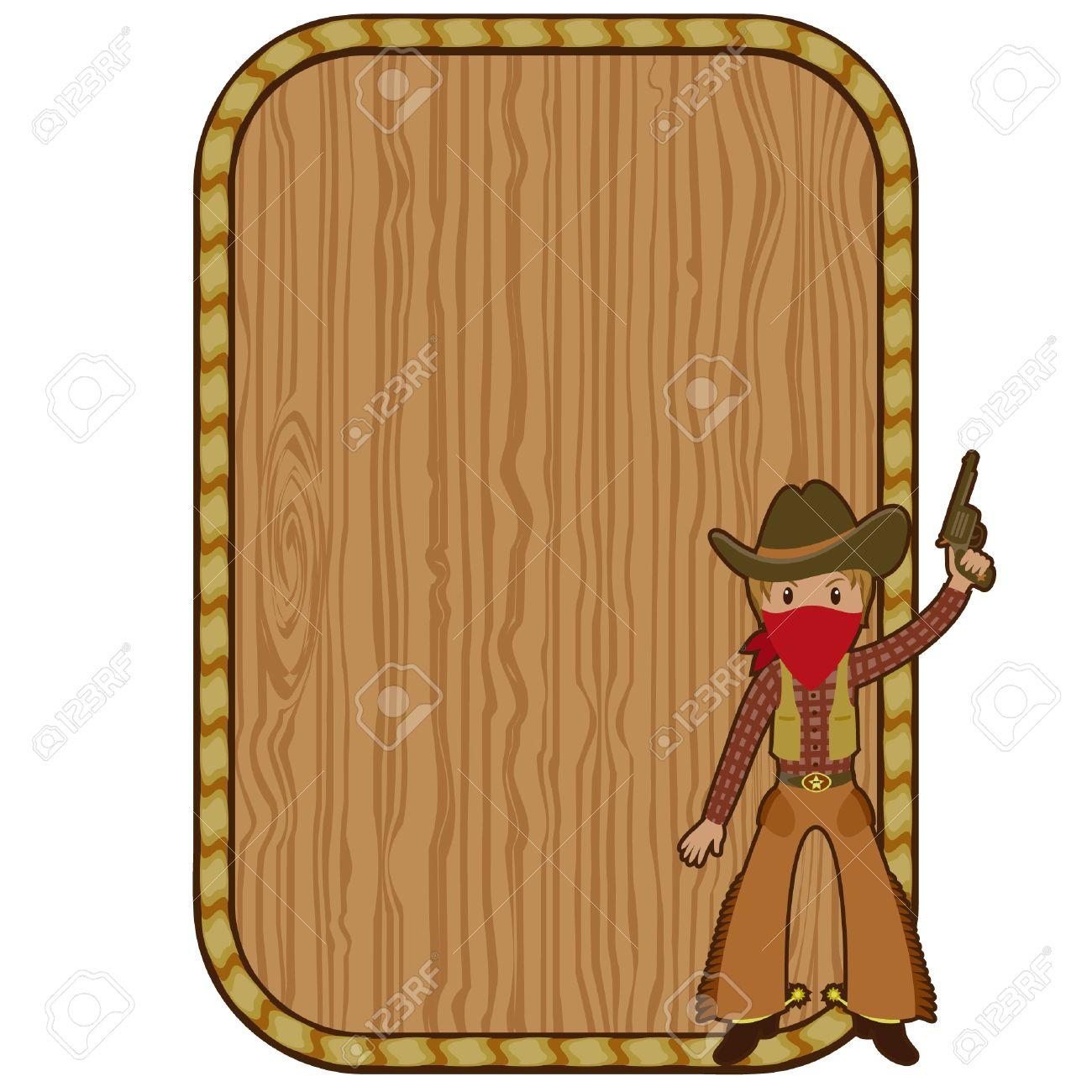 Cartoon Cowboy In Der Nähe Des Hölzernen Leeren Rahmen Lizenzfrei ...