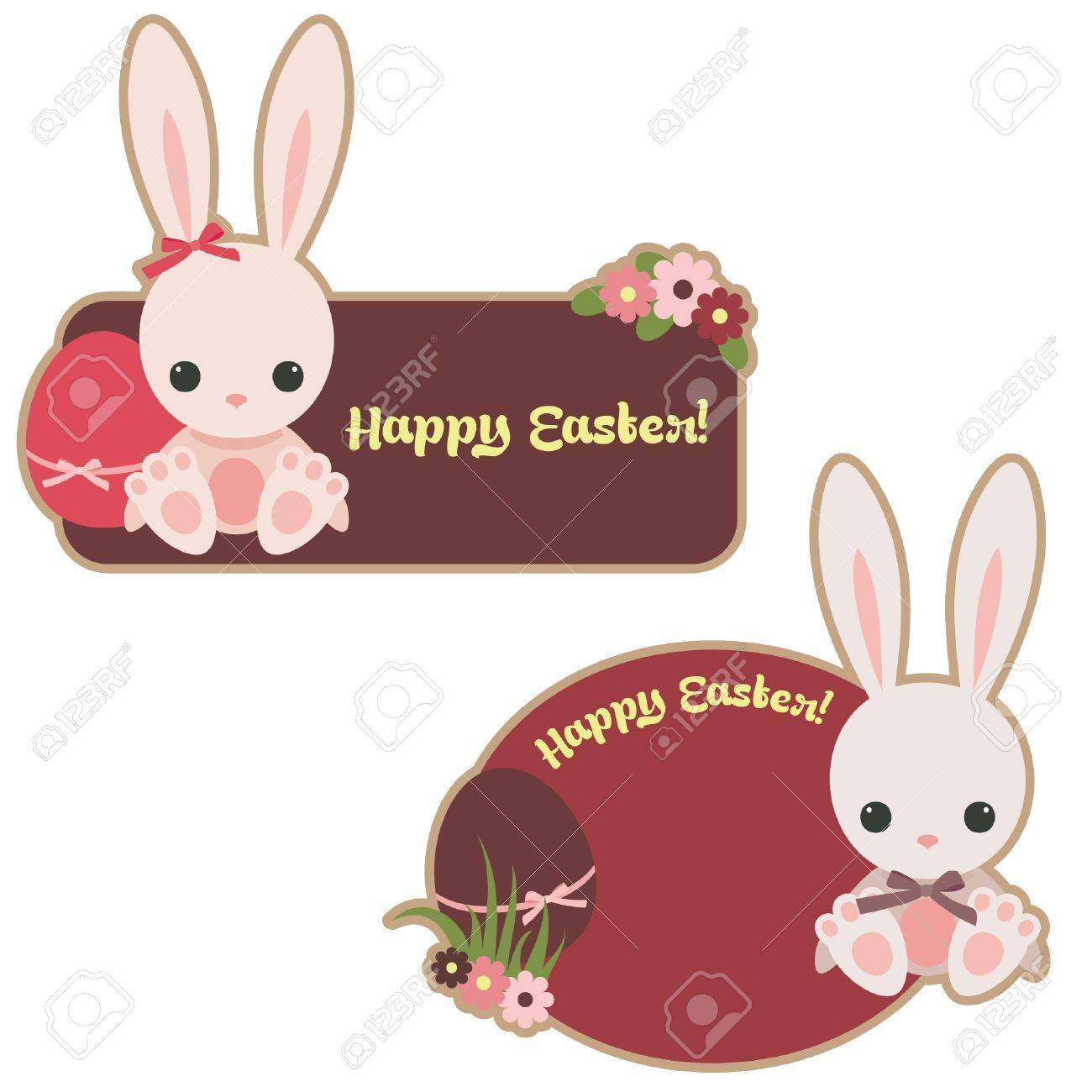 Easter Stickers With Bunnies And Eggs Royalty Free Cliparts ...
