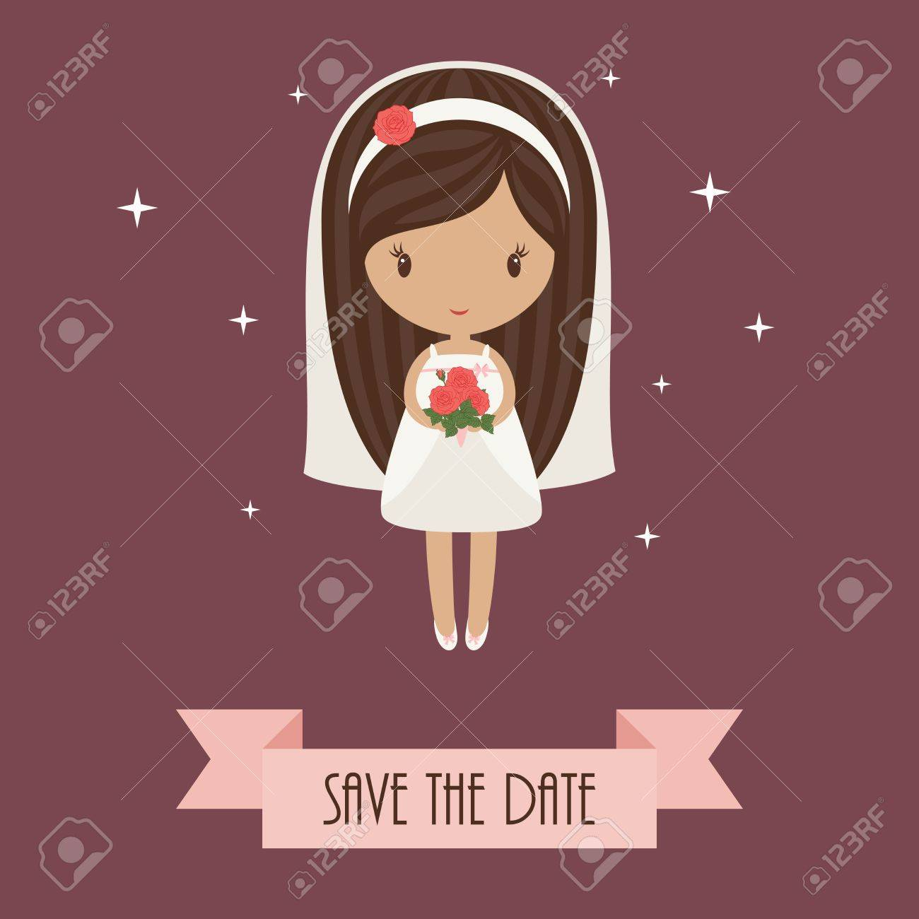 Romantic cartoon bride holding bouquet of roses   Wedding invitation Stock Vector - 20755230