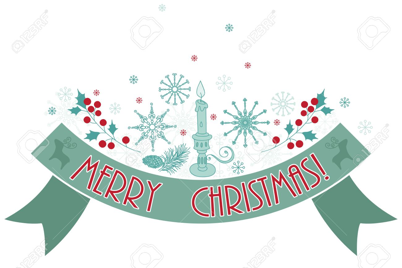 merry christmas holiday banner greetings snowflakes holly rh 123rf com Merry Christmas Banner Clip Art Funny Holiday Banner