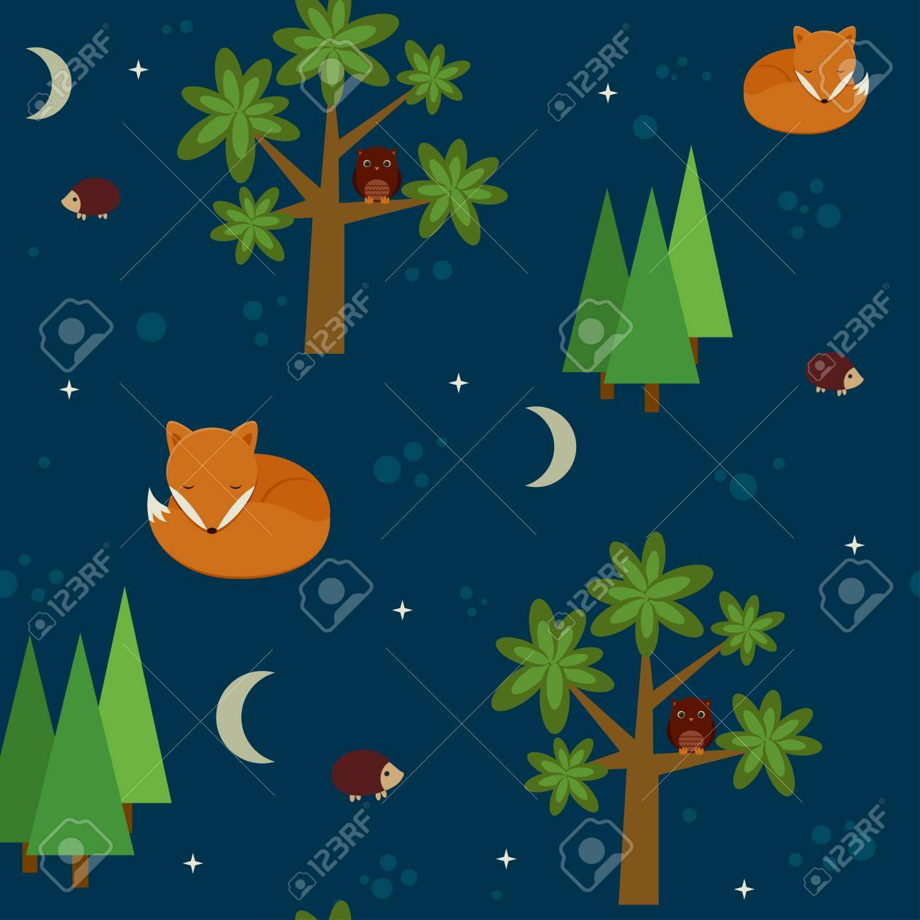 夜の森のシームレスな壁紙のイラスト素材 ベクタ Image 26038867