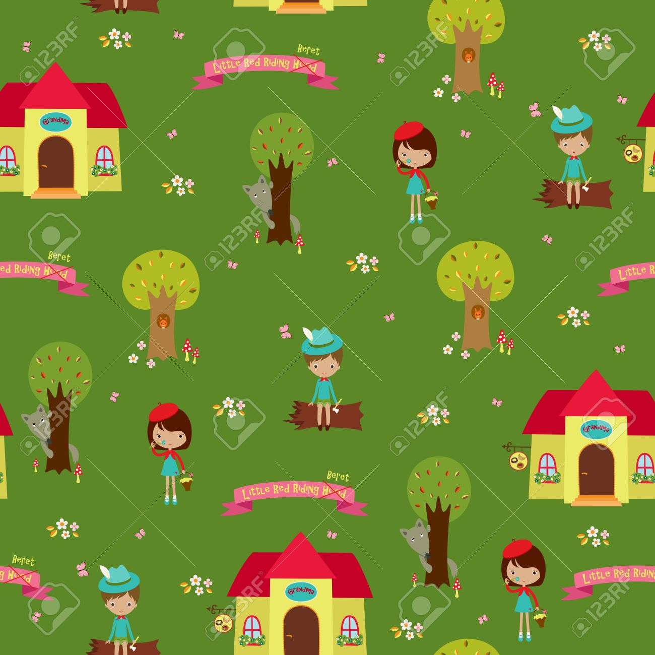 Seamless Wallpaper Design Fairy Tale Little Red Riding Hood