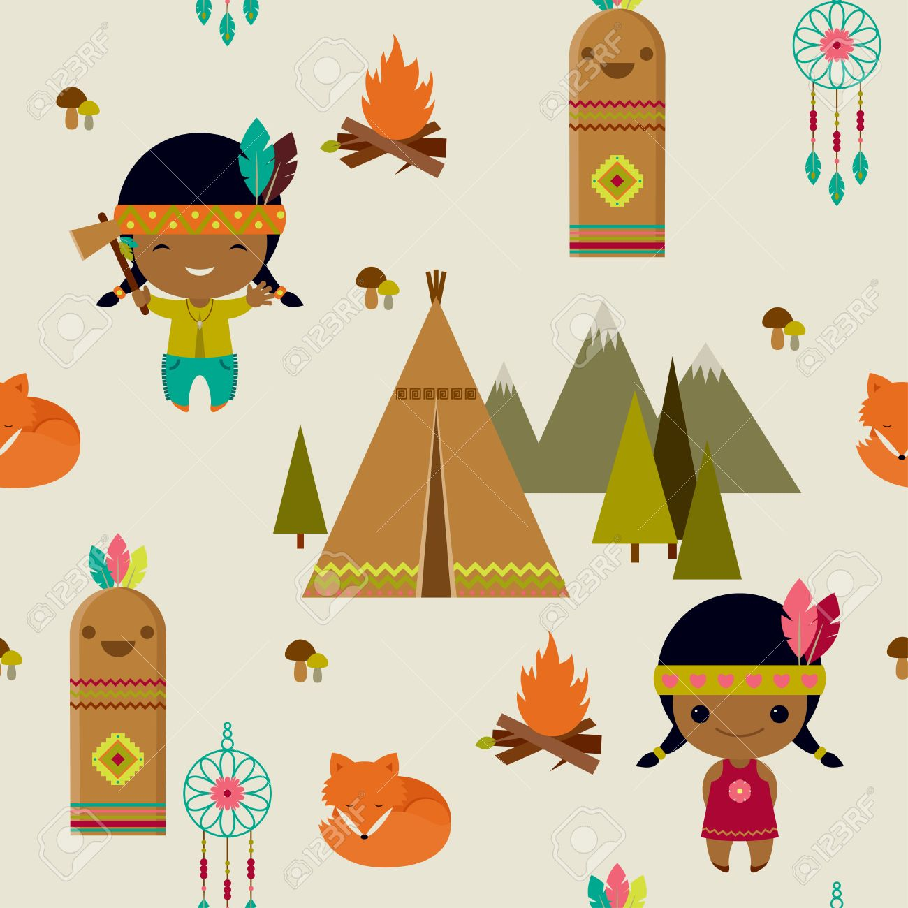 アメリカン インディアン アート シームレスな壁紙のイラスト素材 ベクタ Image
