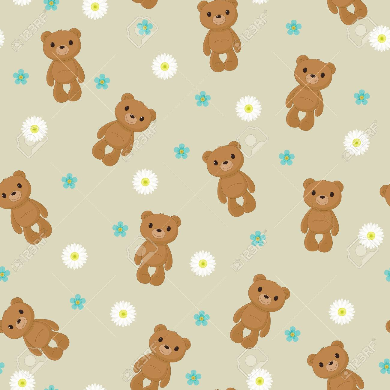 Seamless Wallpaper With Cute Teddy Bear On Floral Background