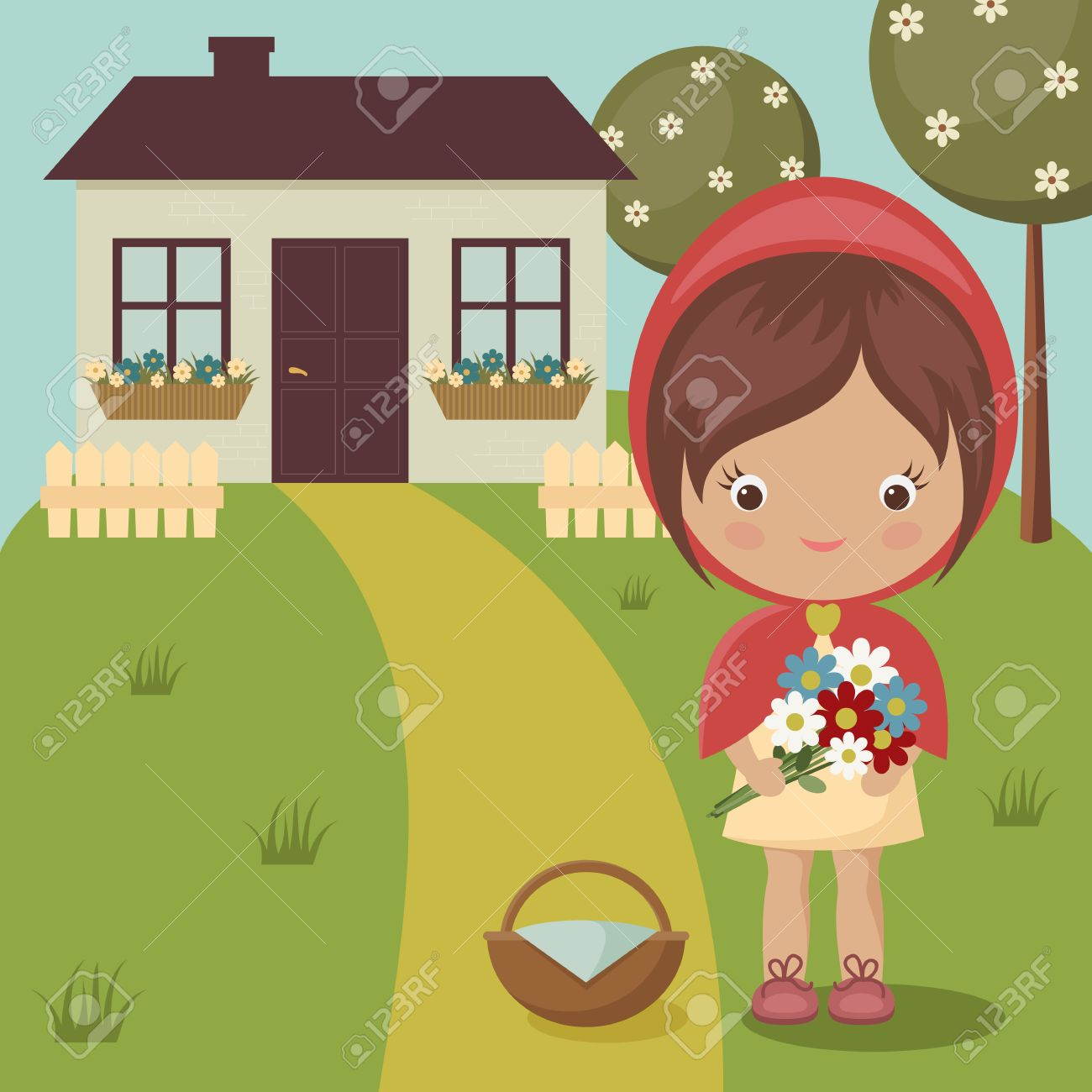 Little red riding hood close to grandmas house with flowers little red riding hood close to grandmas house with flowers and basket stock vector 29672164 buycottarizona