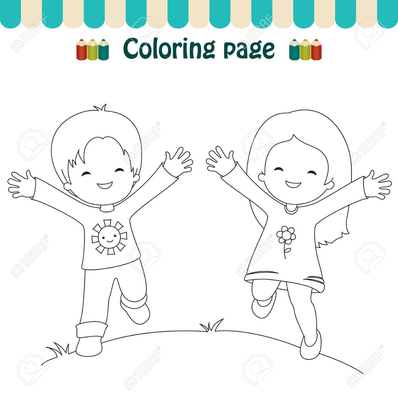 Dibujo Para Colorear Niños Felices