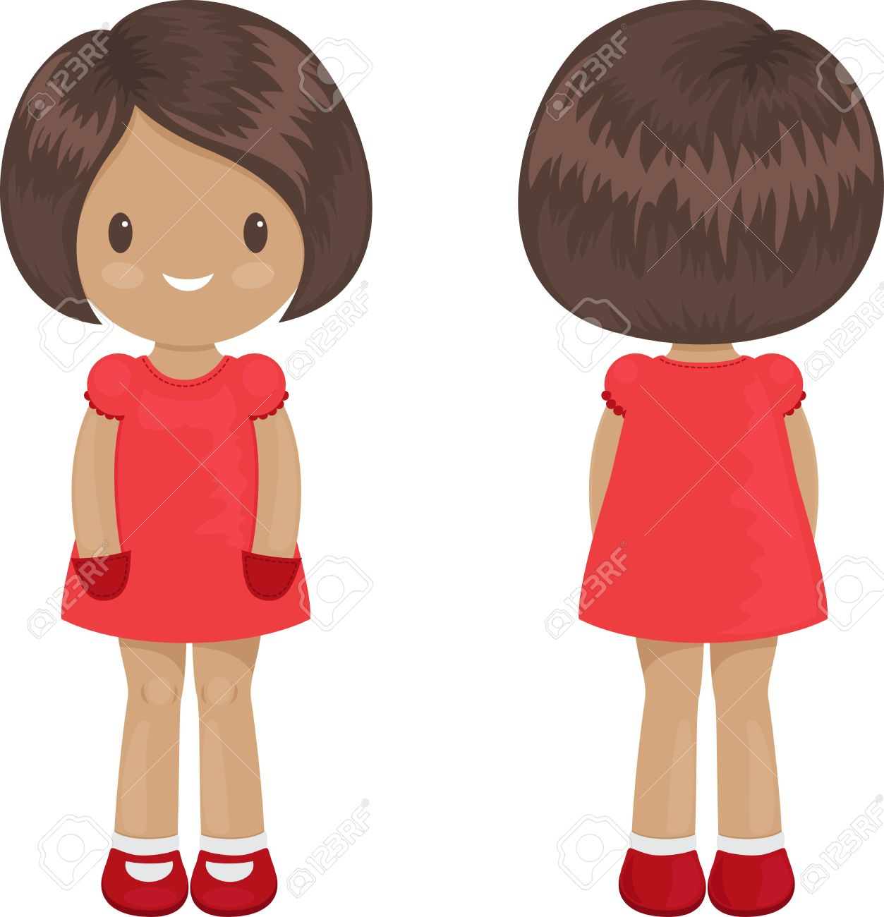 little girl body template in a dress front and back over white stock vector