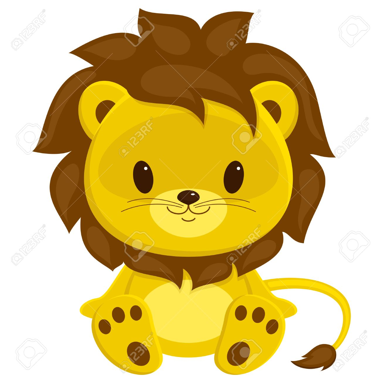 cartoon illustration of sitting lion cub isolated over white rh 123rf com lion cub clip art free cartoon lion cub clipart