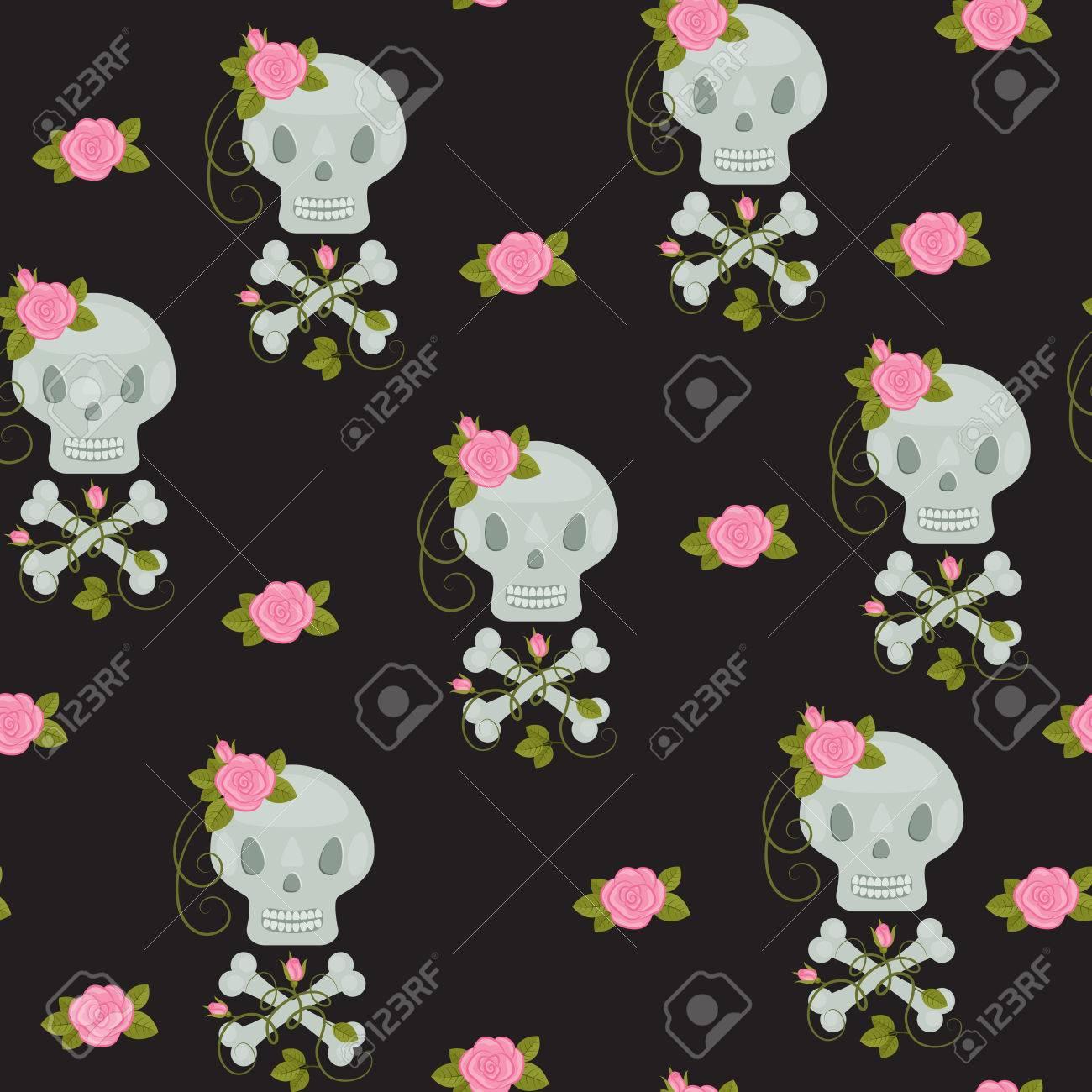 バラと骨のシームレスな壁紙とスカルします のイラスト素材 ベクタ