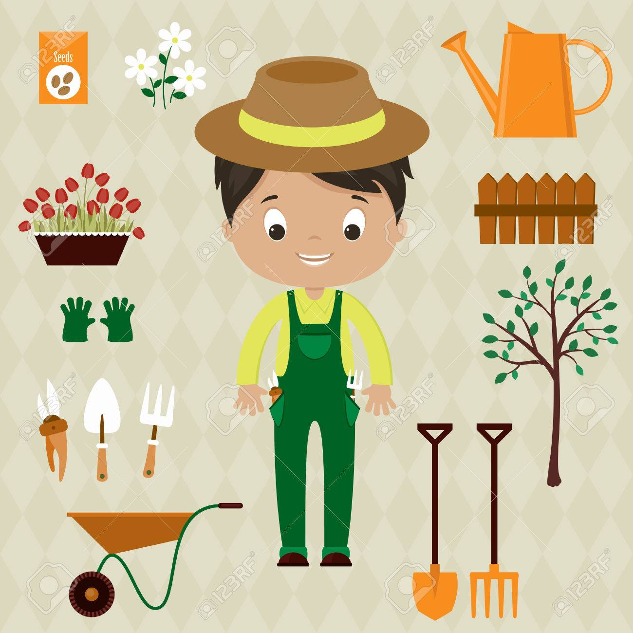 Gardener Man With Garden Tools, Equipment And Flowers. Cute Cartoon Vector  Illustration. Stock