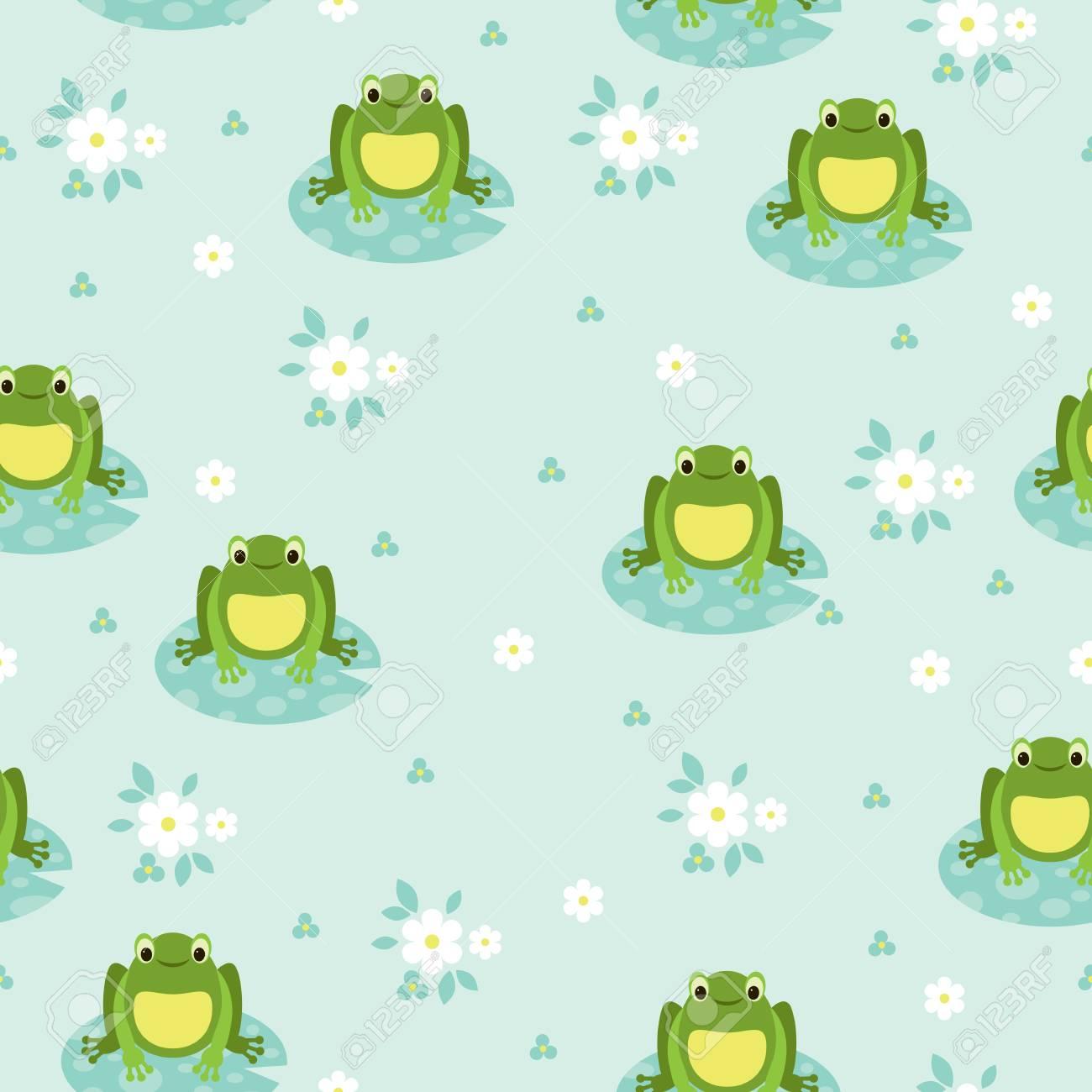 シームレスな壁紙緑カエルと青い湖のイラスト素材 ベクタ Image