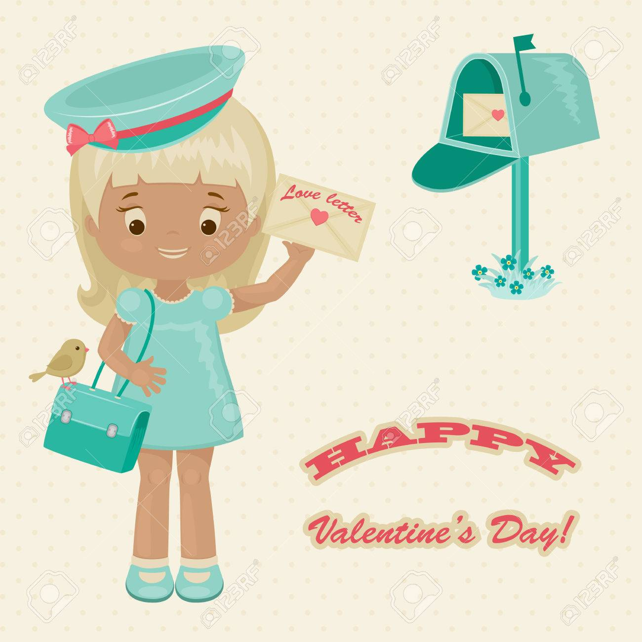 Valentines Day Retro Greeting Card Pretty Postwoman With Love