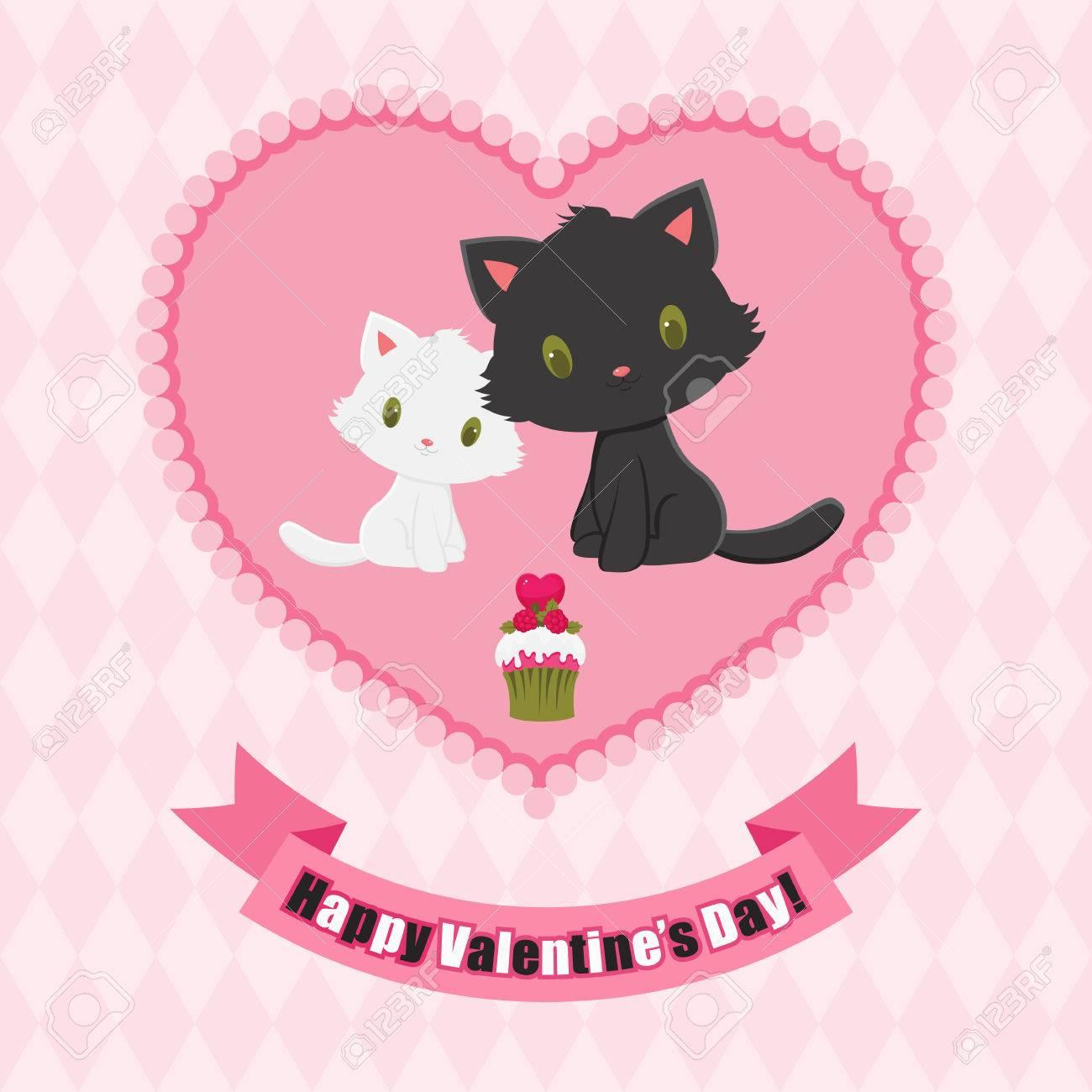 Valentine S Day Greeting Card Black And White Kittens In Love