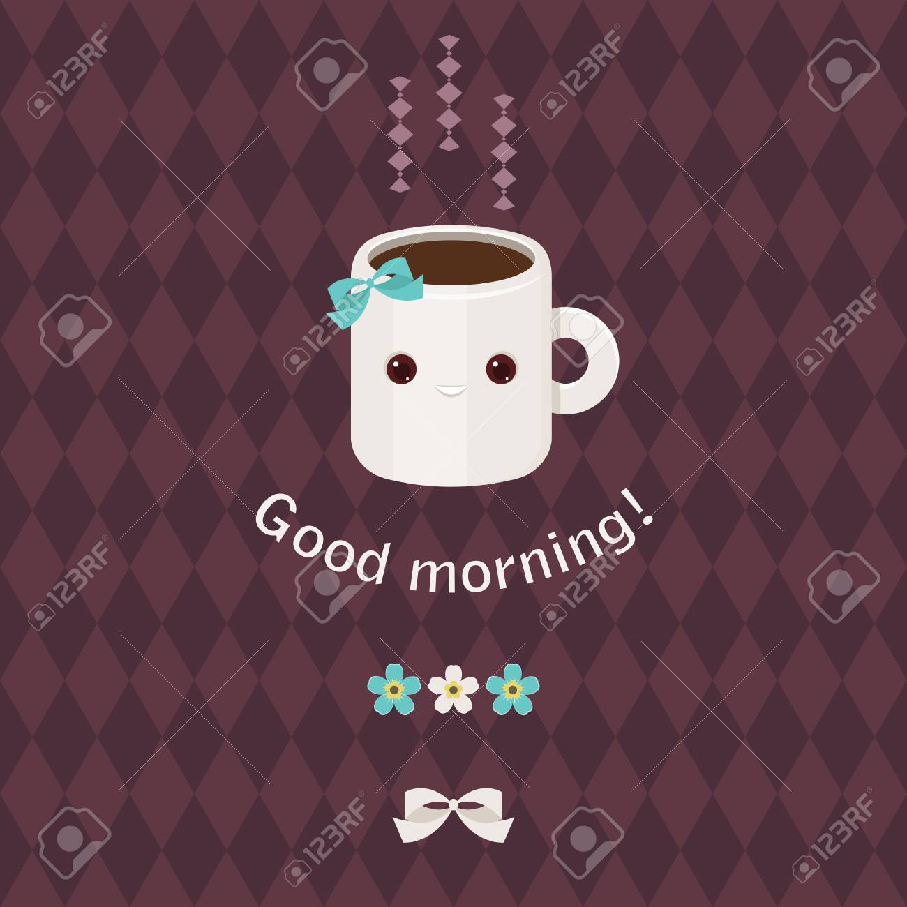 Good Morning Beautiful Greeting Card Adorable Coffee Cup Character