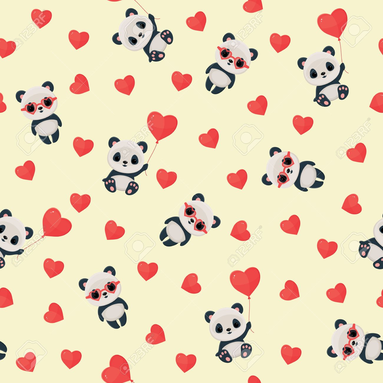 Seamless pattern with panda in love. Saint Valentine's Day wallpaper. Stock Vector - 51335001