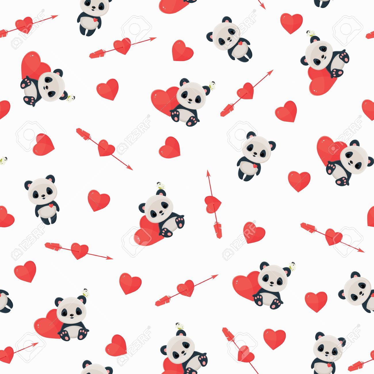 Seamless pattern with panda in love. Saint Valentine's Day wallpaper. Panda, heart,